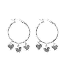 Sterling Silver Stardust Heart Drop Hoop Earrings (with Clasp)