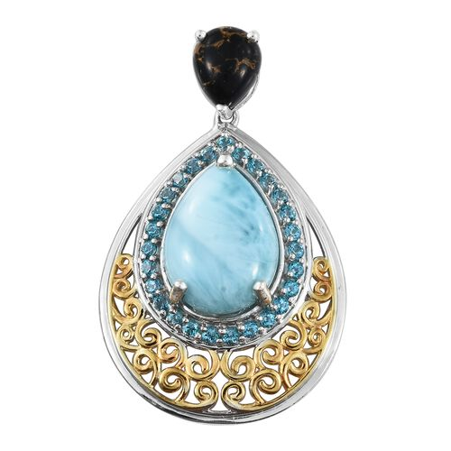Larimar (Pear 11.25 Ct), Mojave Black Turquoise and Signity Pariaba Topaz Drop Pendant in Platinum O