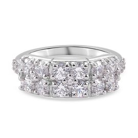 J Francis Platinum Overlay Sterling Silver Ring Made with SWAROVSKI ZIRCONIA 3.01 Ct.