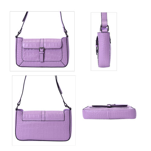 100% Genuine Leather Crocodile-Embossed Pattern Hobo Bag (28x5x16cm) with Adjustable Shoulder Strap - Light Purple