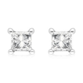 9K White Gold SGL Certified Diamond (I3/G-H) Stud Earrings (with Push Back) 0.20 Ct.