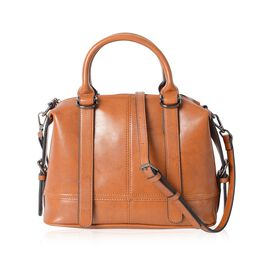 100% Genuine Leather Tan Colour Tote Bag with External Zipper Pocket and Removable Shoulder Strap (S