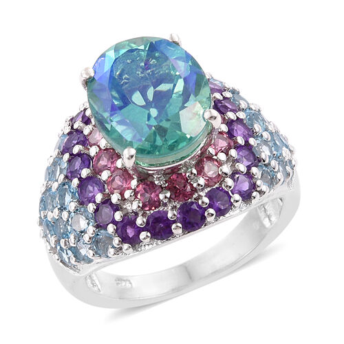 Peacock Quartz (Ovl 5.55 Ct), Rhodolite Garnet, Electric Swiss Blue Topaz and Amethyst Ring in Platinum Overlay Sterling Silver 10.000 Ct.