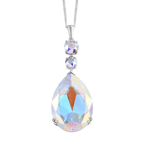 J Francis Crystal from Swarovski - AB Crystal (Rnd and Pear) Pendant With Chain (Size 20) in Platinu