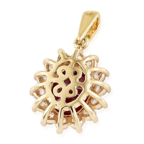Designer Inspired 9K Yellow Gold AA African Ruby (Ovl 9x7mm), Natural Cambodian White Zircon Floral Pendant 3.500 Ct.