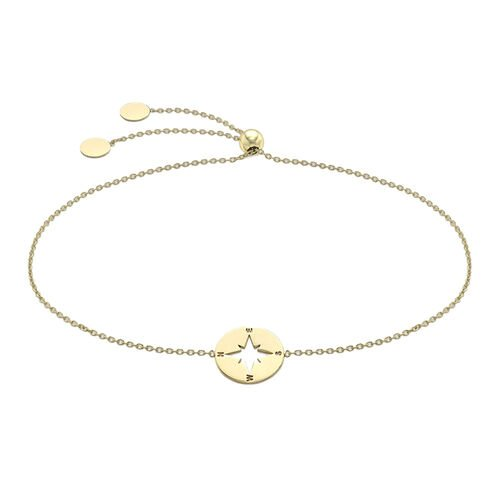 9K Yellow Gold Compass Pendant in Belcher Necklace (Size 16 with 1 inch Extender)