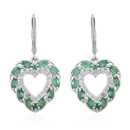 Kagem Zambian Emerald (Mrq), Natural Cambodian Zircon Heart Lever Back Earrings in Platinum Overlay
