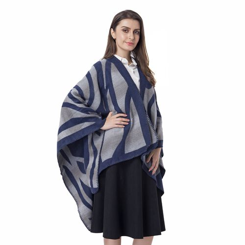 One Time Deal-Navy and Grey Colour Raised Grain Pattern Blanket Kimono (Size 133x70 Cm)