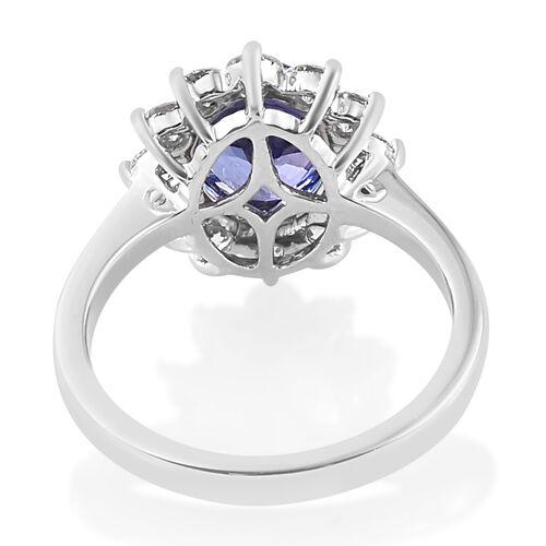 RHAPSODY 950 Platinum AAAA Tanzanite (Ovl9x7mm 1.75 Cts), Diamond (VS/E-F 1.00 Cts) Ring 2.750  Ct, Platinum wt 5.81 Gms.