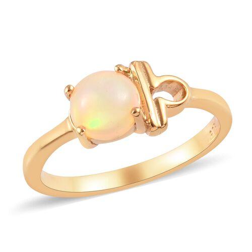 AA Ethiopian Welo Opal Zodiac-Libra Ring in 14K Gold Overlay Sterling Silver 0.500  Ct.