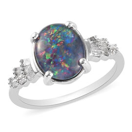 Australian Boulder Opal and Diamond Ring in Platinum Overlay Sterling Silver 1.80 Ct.