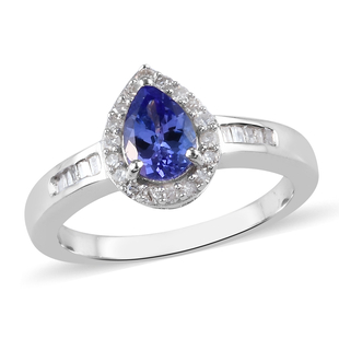 Tanzanite and Diamond Ring in Platinum Overlay Sterling Silver 0.88 Ct.