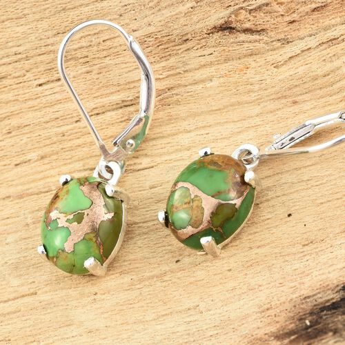 Mojave Green Turquoise (Ovl) Lever Back Earrings in Sterling Silver 5.250 Ct.