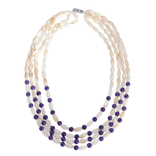 Purple Shell and White Shell Necklace (Size 17) in Silver Tone 20.000 Ct.