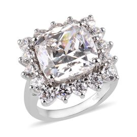 J Francis Made with SWAROVSKI ZIRCONIA Halo Ring (Size L) in Platinum Plated Sterling Silver 5.37 Grams