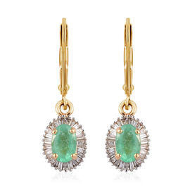 ILIANA 18K Yellow Gold AAA Boyaca Colombian Emerald and Diamond (SI/G-H) Lever Back Earrings 1.15 Ct