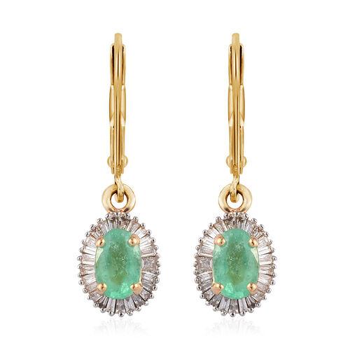 ILIANA 18K Yellow Gold AAA Boyaca Colombian Emerald and Diamond (SI/G-H) Lever Back Earrings 1.15 Ct