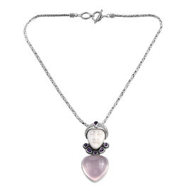 Princess Bali Collection OX Bone Carved Face, Rose Quartz and Amethyst Pendant in Sterling Silver 89