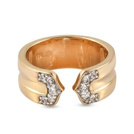 Sunday's Child Natural Cambodian Zircon Open Design Band Ring in Yellow Gold Plated Sterling Silver