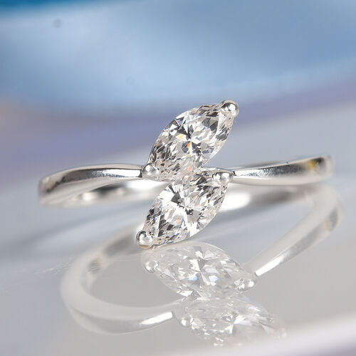 J Francis - Sterling Silver Bypass Ring Made with SWAROVSKI ZIRCONIA
