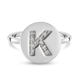 White Diamond Initial-K Ring in Platinum Overlay Sterling Silver