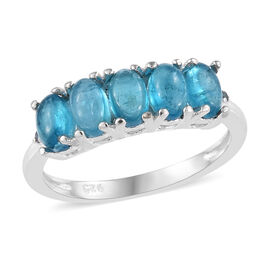 Malgache Neon Apatite (Ovl), Blue Diamond Ring in Sterling Silver 1.50 Ct.