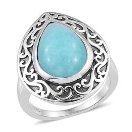 Natural Peruvian Amazonite (Pear 14x10 mm) Filigree Design Ring (Size S) in Platinum Overlay Sterling Silver