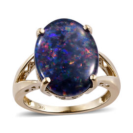 16x12mm Rare Size Boulder Opal Solitaire Ring in 9K Gold 3 Grams