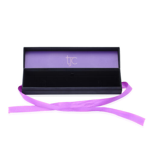 Luxury Black Bracelet Gift Box With Purple Ribbon [24.5x5.7x4cm]