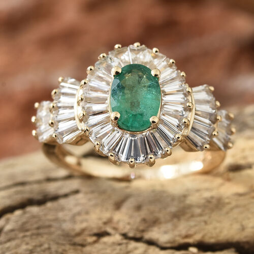 Signature Collection- 9K Yellow Gold AA Kagem Zambian Emerald (Ovl), Natural Cambodian Zircon  Ring 2.750 Ct.
