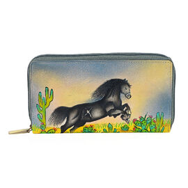 SUKRITI PERIMER Super Soft Genuine Leather Handprint RFID Protected Horse Wallet (Size 18.5x10.52 Cm