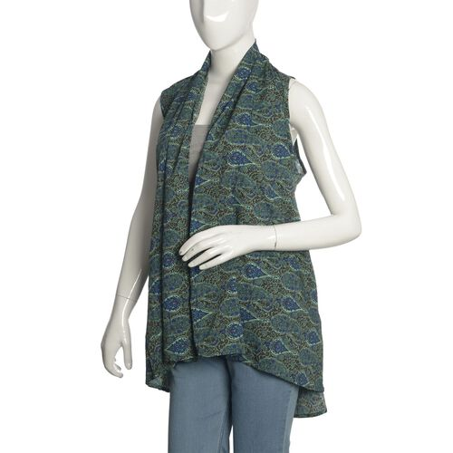 Limited Edition- Designer Inspired Close Out Deal Multi Colour Paisley Pattern Modern Blue Colour Sleeveless Top (Size 80x60 Cm)