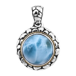 Royal Bali 8.13 Ct Larimar Solitaire Pendant in 18K Gold and Sterling Silver 6.50 Grams