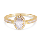 ELANZA Simulated Diamond Ring (Size N) in Yellow Gold Overlay Sterling Silver