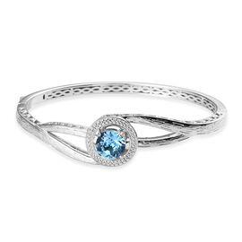 J Francis Aquamarine Colour Crystal from Swarovski Bangle in Platinum Plated 7.5 Inch