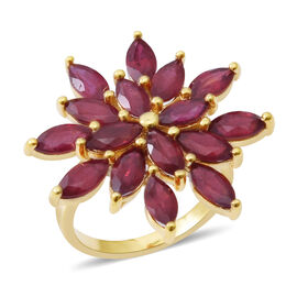 African Ruby (Mrq) Flower Ring in 14K Gold Overlay Sterling Silver 8.000 Ct. Silver wt 4.20 Gms.