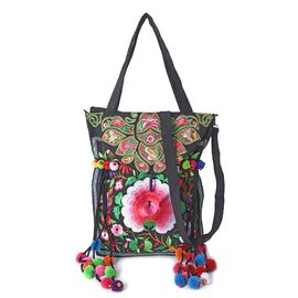 Embroidered Flower Pattern Pom Pom Tassel Tote Bag with Shoulder Strap and Zipper  Closure (Size 37x