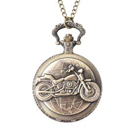 STRADA Japanese Movement Motorcycle Pattern Water Resistant Pocket Watch with Chain (Size 30)