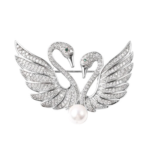 White Shell Pearl Simulated Diamond and Simulated Emerald Swan Couple Brooch or Pendant in Silver To