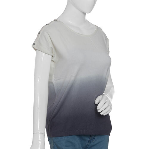 Cool Summer - White and Grey Ombre Dye T-Shirt Size- Medium