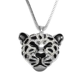 White Austrian Crystal Leopard Pendant with Chain (Size 28 with 3 inch Extender) in Silver Tone
