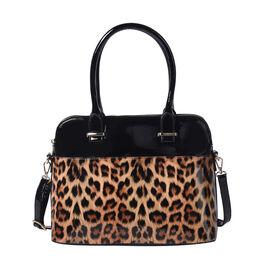 Brown Leopard Print Handbag 32x25x13cm with Detachable and Adjustable Shoulder Strap L: 120cm