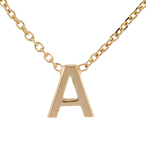 Hatton Garden Close Out - 9K Yellow Gold Initial A Necklace (Size 15 with 2 Inch Extender)