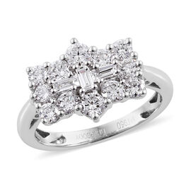RHAPSODY 1 Carat Diamond Boat Cluster Ring in 950 Platinum 5 Grams IGI Certified VS EF