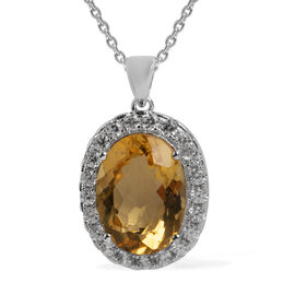 10.25 Ct Brazilian Citrine and White Zircon Halo Pendant with Chain in Sterling Silver 6.68 Grams