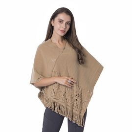 Plastic Beads Flower Hollow - Out Pattern Poncho with Tassels (Size 70x65 Cm) Colour Brown