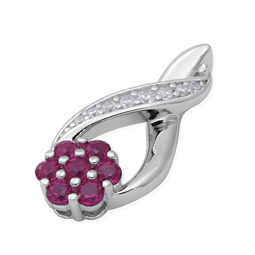 ELANZA Simulated Diamond and Simulated Ruby Inifinity and Flower Pendant in Rhodium Overlay Sterling Silver