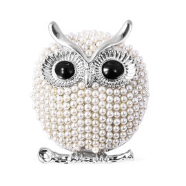 Simulated Pearl Enamelled Owl Brooch or Pendant in Silver Tone