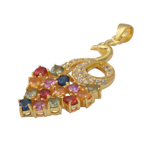 Rainbow Sapphire and Natural Cambodian Zircon Peacock Pendant in Yellow Gold Overlay Sterling Silver 3.80 Ct.