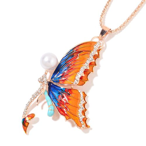 Simulated White Pearl and White Austrian Crystal Multi Colour  Butterfly Pendant With Chain (Size 28) in Rose Gold Tone